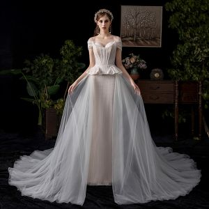 Amazing / Unique Champagne Wedding Dresses 2019 A-Line / Princess Off-The-Shoulder Pearl Lace Flower Short Sleeve Backless Chapel Train