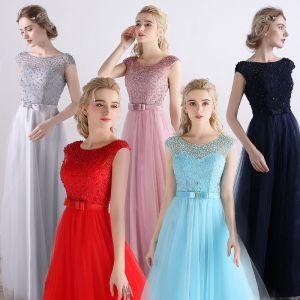 Erschwinglich Brautjungfernkleider 2017 A Linie Kurze Ärmel Rückenfreies Perle Tülle Stoffgürtel Lange Kleider Für Hochzeit