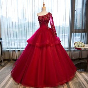 Chic / Beautiful Red Prom Dresses 2017 Ball Gown One-Shoulder Long Sleeve Appliques Flower Rhinestone Beading Floor-Length / Long Ruffle Backless Formal Dresses