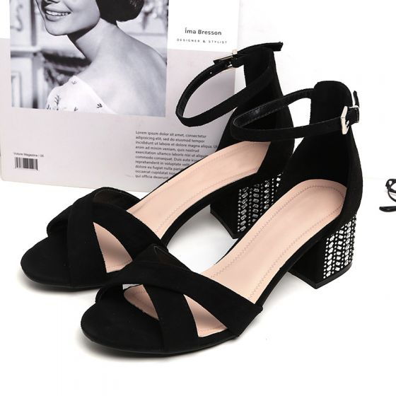 Mooie / Prachtige Zwarte Straatkleding Suede Sandalen Dames 2020 Enkelband 5 cm Dikke Hak Peep Toe Sandalen