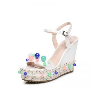 Chic / Beautiful Outdoor / Garden Womens Sandals 2017 PU Braid Pearl Wedges Open / Peep Toe Sandals