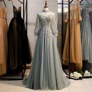 Vintage / Originale Gris Robe De Bal 2020 Princesse Col Haut Perlage Faux Diamant En Dentelle Fleur Manches Longues Dos Nu Train De Balayage Robe De Ceremonie