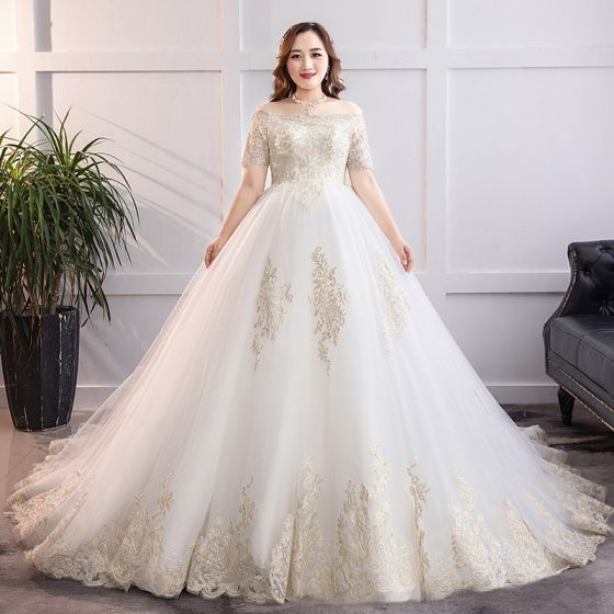 Amazing / Unique White Plus Size Wedding Dresses 2019 A-Line / Princess  Chapel Train Lace Short Sleeve Appliques Strapless Backless Church Wedding