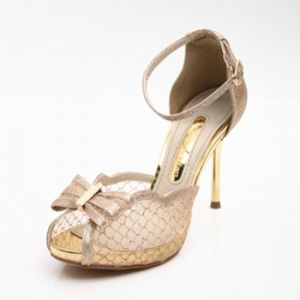 Modern / Fashion Gold Summer Evening Party Womens Shoes 2018 See-through Bow Ankle Strap 8 cm Stiletto Heels Open / Peep Toe High Heels Heels