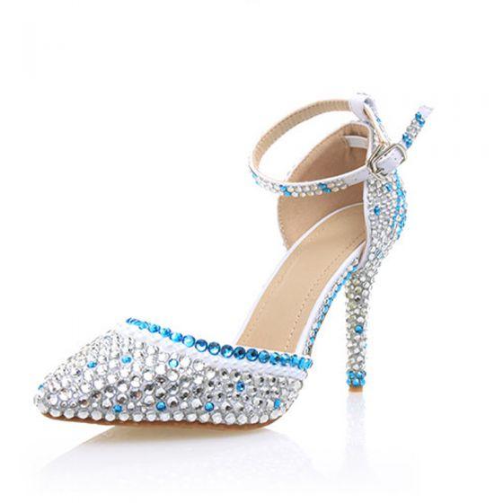 Sexy Silber Abend Strass Sandalen Damen 2020 Knöchelriemen 10 cm Stilettos Spitzschuh Sandaletten