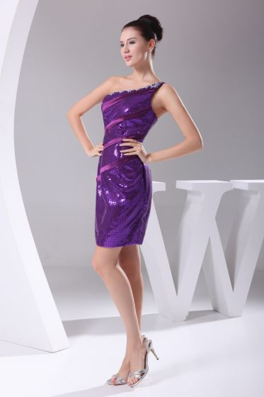 Sequins Lace Imitated Silk Neckline Seam Bead Sloping Shoulder Bridesmaid Cocktail Dresses