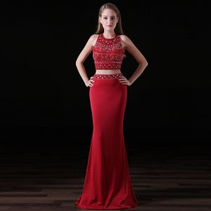 Sparkly 2 Piece Burgundy Evening Dresses  2017 Trumpet / Mermaid Halter Sleeveless Beading Crystal Rhinestone Satin Chiffon Backless Formal Dresses