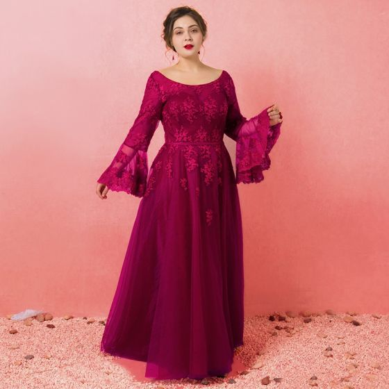 Amazing / Unique Burgundy Plus Size Prom Dresses 2018 A-Line / Princess  Long Sleeve Lace-up U-Neck Tulle Appliques Backless Evening Party Prom  Evening ...