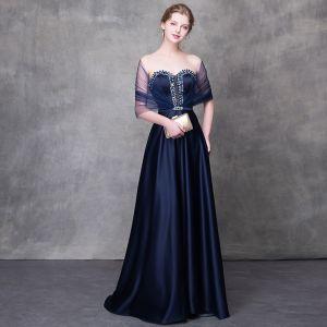 Eleganckie Granatowe Sukienki Wieczorowe 2018 Princessa Kryształ Rhinestone Szarfa Kochanie Bez Pleców Bez Rękawów Trenem Sweep Sukienki Wizytowe