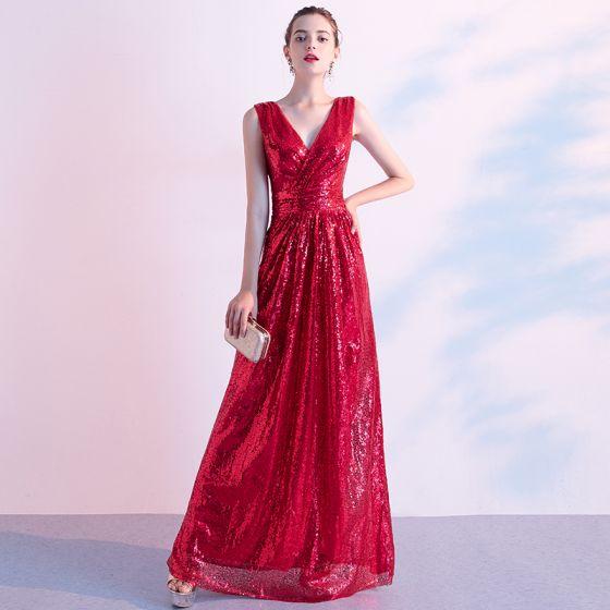 Glitzernden Rot Abendkleider 2020 A Linie V-Ausschnitt Pailletten Ärmellos Rückenfreies Lange Festliche Kleider