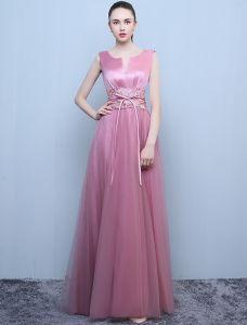 Schöne Abendkleider 2016 A-line Rundhalsausschnitt Spitze Schärpe Candy Pink Rückenfreies Kleid