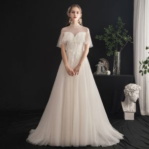 Lett Champagne Brudekjoler 2019 Prinsesse Høy Hals Beading Krystall Blonder Blomst Korte Ermer Ryggløse Feie Tog