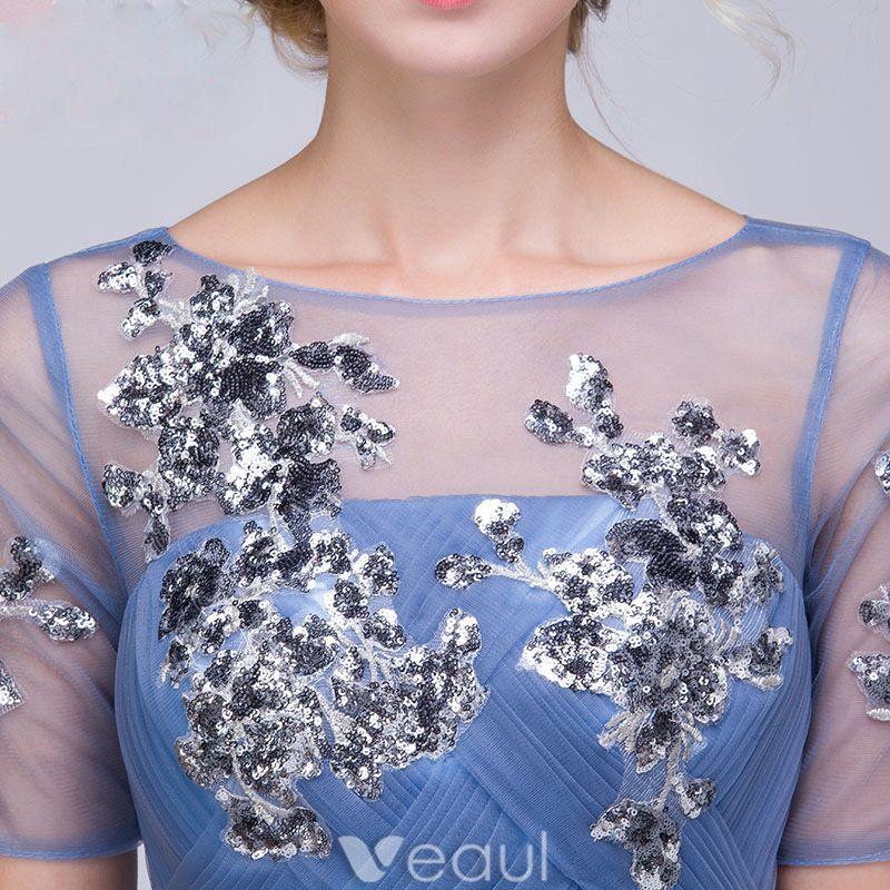 Belles Robe De Soirée Pas Cher 2016 Une Ligne De Paillettes Décolleté Carré Appliques De Dentelle Encre Tulle Bleu Robe Longue Avec Ceinture