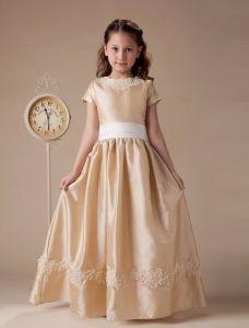 Kurzen Ärmeln Appliques Schärpe Taft Blumenmädchen Kleid Kommunionkleider
