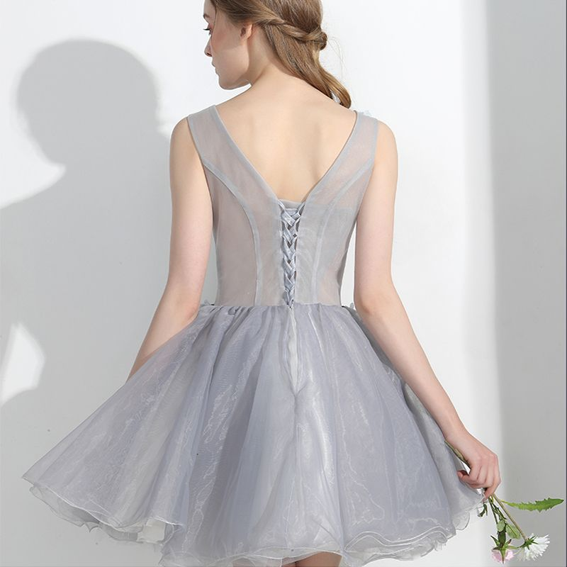 Chic / Beautiful Affordable Formal Dresses Party Dresses 2017 Lace Appliques Flower Backless V-Neck Sleeveless Short Grey Ball Gown