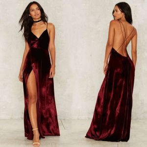 Sexy Burgundy Suede Maxi Dresses 2018 Spaghetti Straps Sleeveless Split Front Floor-Length / Long Backless Women's Clothing