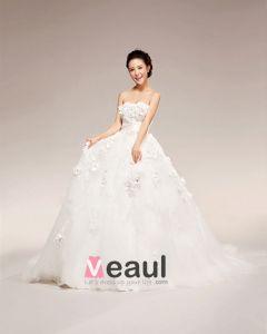 Applique Perles Cherie Etage Longueur Satin Robe De Bal De Mariage Robe