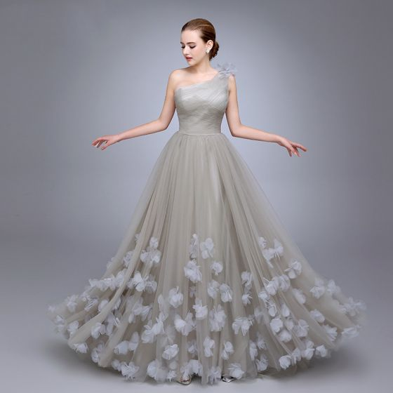 Chic / Beautiful Grey One-Shoulder Prom Dresses 2017 A-Line / Princess Sleeveless Ruffle Tulle Flower Floor-Length / Long Formal Dresses