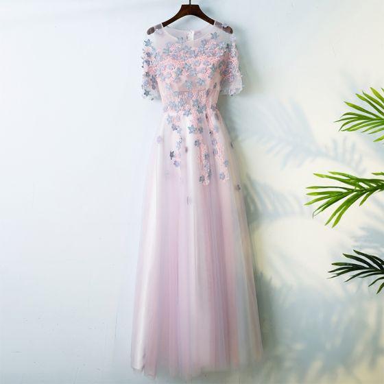 Chic / Beautiful Candy Pink Graduation Dresses 2017 A-Line / Princess Scoop Neck Zipper Up 1/2 Sleeves Appliques Flower Outdoor / Garden Tea-length