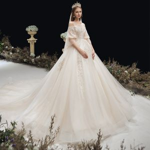 Victorian Style Champagne See-through Pregnant Wedding Dresses 2020 Empire Scoop Neck Puffy 3/4 Sleeve Backless Appliques Lace Beading Glitter Tulle Cathedral Train Ruffle