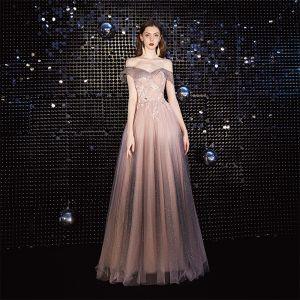 Elegant Blushing Pink Evening Dresses  2020 A-Line / Princess Off-The-Shoulder Beading Sequins Lace Flower Short Sleeve Backless Floor-Length / Long Formal Dresses