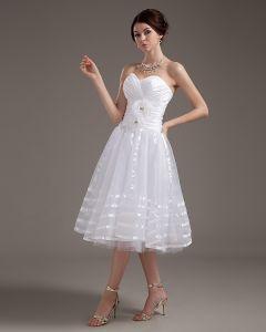 Elegantes Trägerloses Applique Satin Garn Kurze Hochzeitskleider