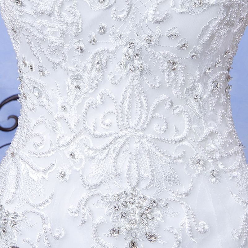 Chic / Beautiful Hall Wedding Dresses 2017 White Trumpet / Mermaid Floor-Length / Long Scoop Neck Sleeveless Backless Lace Appliques Pearl Rhinestone