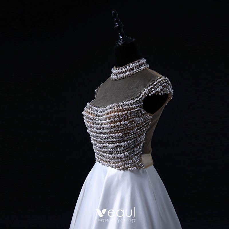 Luxury / Gorgeous Pearl Prom Dresses 2017 High Neck Beading Crystal Backless White Satin Formal Dresses