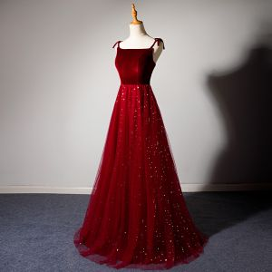 Chic / Beautiful Burgundy Evening Dresses  2019 A-Line / Princess Spaghetti Straps Star Sequins Suede Sleeveless Backless Floor-Length / Long Formal Dresses