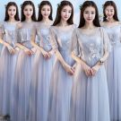 Chic / Beautiful Grey Bridesmaid Dresses 2018 A-Line / Princess Appliques Lace Floor-Length / Long Ruffle Backless Wedding Party Dresses