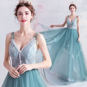 Classy Mint Green Prom Dresses 2020 A-Line / Princess Spaghetti Straps Lace Flower Sleeveless Backless Cascading Ruffles Sweep Train Formal Dresses