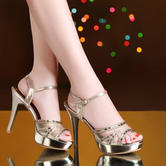 Chic / Beautiful 2017 Casual Leatherette Gold Rhinestone High Heels Stiletto Heels 8 cm / 3 inch Pumps Pumps