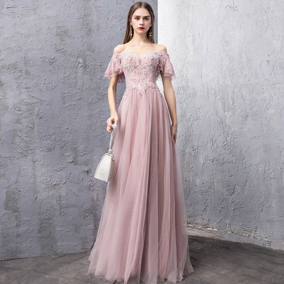 Elegant Blushing Pink Evening Dresses  2019 A-Line / Princess Off-The-Shoulder Short Sleeve Beading Rhinestone Floor-Length / Long Ruffle Backless Formal Dresses