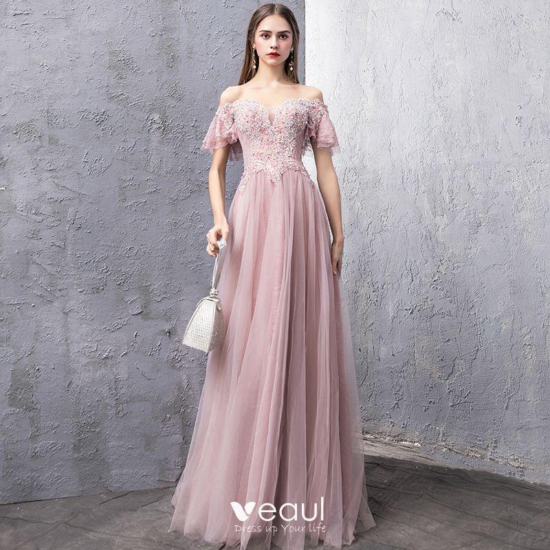 6d39bd1af310a Elegant Blushing Pink Evening Dresses 2019 A-Line / Princess Off-The ...