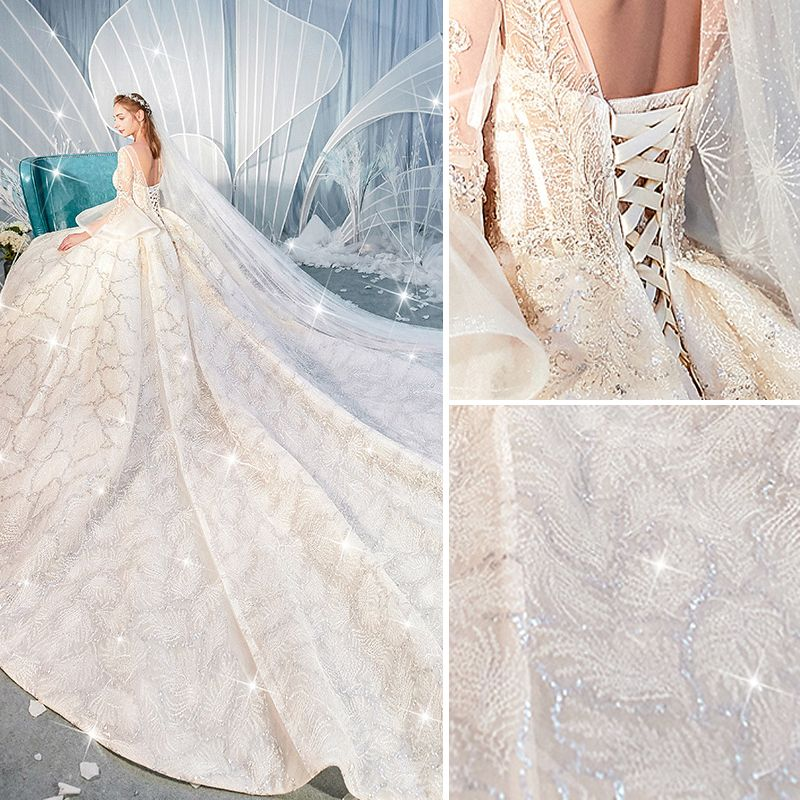 Luxury / Gorgeous Champagne Wedding Dresses 2019 Ball Gown V-Neck Beading Sequins Lace Flower Bell sleeves Backless Royal Train