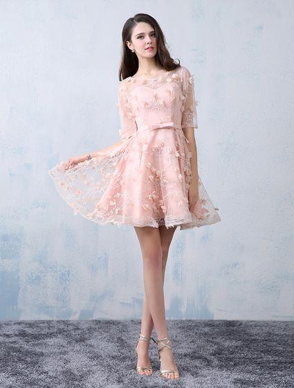 77ea28964 Hermoso Vestidos De Fiesta 2016 Primicia Perla Escote De Tul De Encaje De  Color Rosa Con Flores Vestido Corto