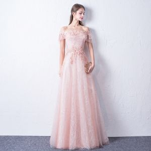 Bling Bling Blushing Pink Evening Dresses  2018 A-Line / Princess Off-The-Shoulder Short Sleeve Appliques Lace Glitter Sequins Floor-Length / Long Ruffle Backless Formal Dresses