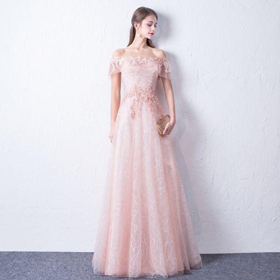Bling Bling Blushing Pink Evening Dresses  2018 A-Line / Princess Off-The-Shoulder Short Sleeve Appliques Lace Glitter Sequins Floor-Length / Long Ruffle Backless Formal Dresses