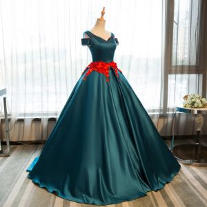 Vintage / Retro Dark Green Quinceañera Prom Dresses 2018 Ball Gown Appliques Crystal V-Neck Backless Sleeveless Floor-Length / Long Formal Dresses
