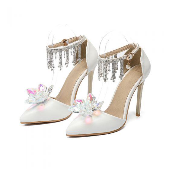 Charmant Ivoire Soirée Cristal Chaussures Femmes 2020 Faux Diamant Gland Bride Cheville 11 cm Talons Aiguilles À Bout Pointu Talons
