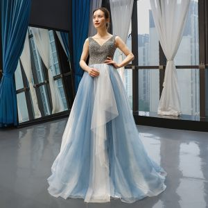 Luxury / Gorgeous Sky Blue Evening Dresses  2019 A-Line / Princess V-Neck Sleeveless Handmade  Beading Floor-Length / Long Ruffle Backless Formal Dresses