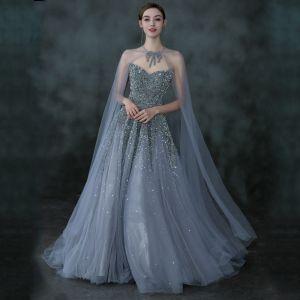 Charmant Océan Bleu Robe De Bal Avec Châle 2021 Princesse Amoureux Sans Manches Perlage Paillettes Train De Balayage Volants Dos Nu Robe De Ceremonie