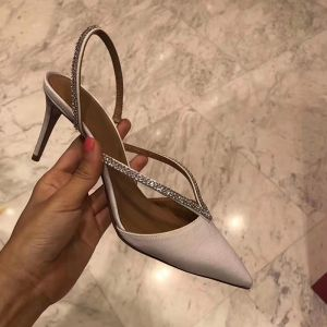 Seksowne Kość Słoniowa Wieczorowe Sandały Damskie 2020 Rhinestone 7 cm Szpilki Szpiczaste Sandały