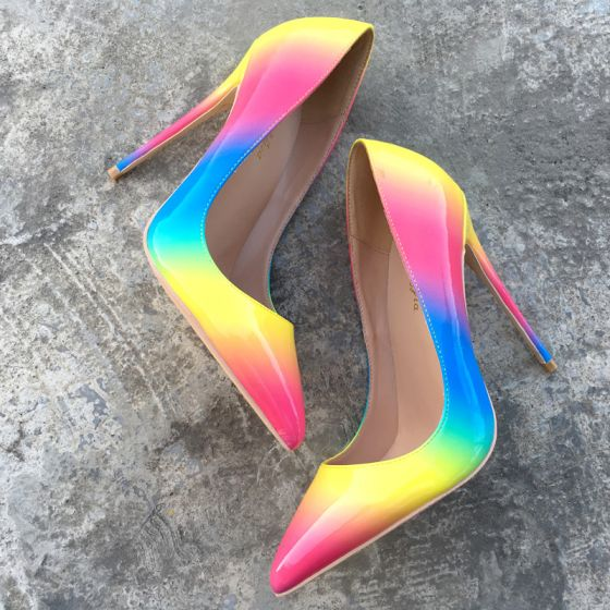 Chic / Beautiful Rainbow Dating Pumps 2019 Leather Multi-Colors 10 cm Stiletto Heels Pointed Toe Pumps