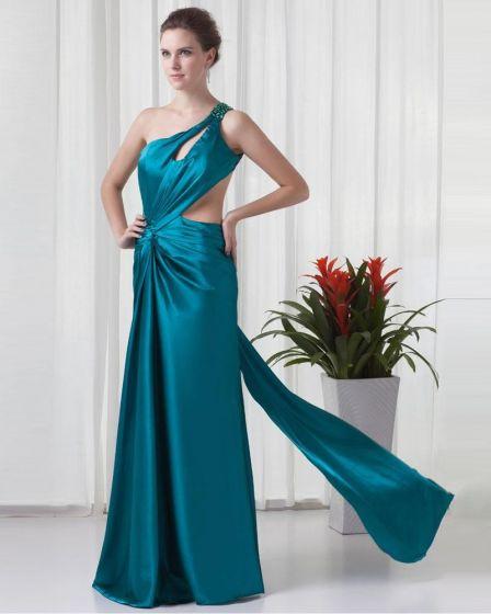 One Shoulder Floor Length Beading Pleated Charmeuse Slim Women Prom Dress