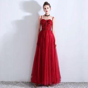 Piękne Burgund Sukienki Wieczorowe 2019 Princessa Spaghetti Pasy Frezowanie Kryształ Cekiny Bez Rękawów Bez Pleców Długie Sukienki Wizytowe