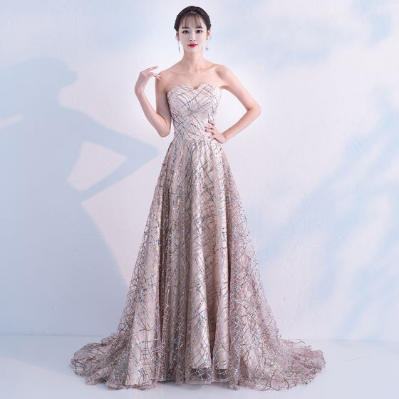 c319c653bee Sparkly Champagne Gold Evening Dresses 2019 A-Line   Princess .