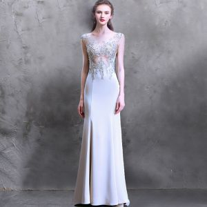 Luxury / Gorgeous Sweep Train Grey Evening Dresses  2018 Trumpet / Mermaid U-Neck Charmeuse Appliques Backless Beading Evening Party Formal Dresses