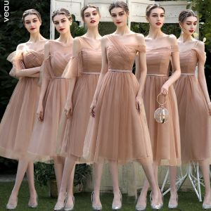 affordable bridesmaid dress a line tea length