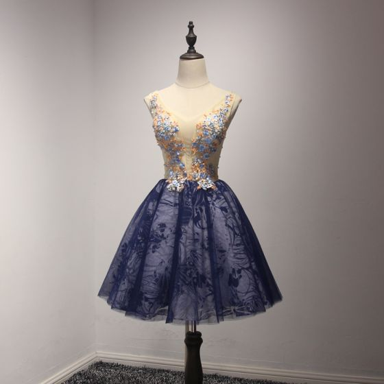 Chic / Beautiful Champagne Ink Blue Party Dresses 2017 Ball Gown V-Neck Sleeveless Appliques Flower Beading Crystal Sequins Pearl Short Ruffle Backless Formal Dresses